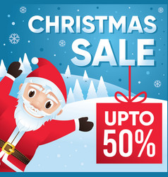 Merry christmas sale background with santa claus vector
