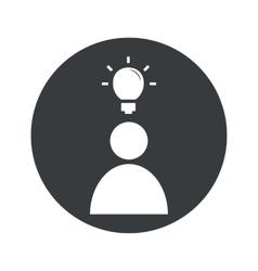 Monochrome round idea icon 1 vector