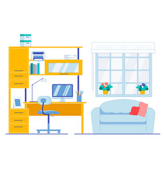 Neat and clean working area in apartment room vector