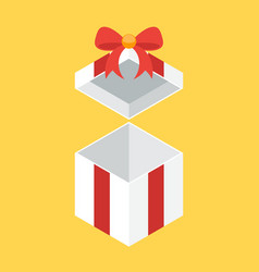 opened 3d white gift box with red tied bow flat vector image
