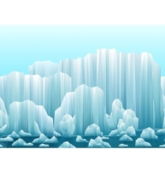 Parallax background icebergs and sea vector