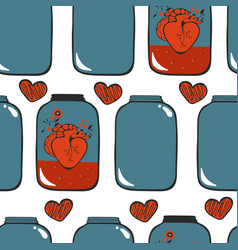 Pattern with hearts in jar vector