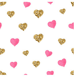pink and gold glitter hearts seamless pattern vector image