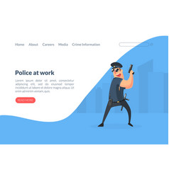 police at work landing page template policeman vector image