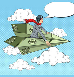 Pop art business woman flying on dollar plane vector