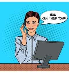 Pop Art Woman Operator Consulting Client vector