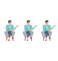 psychologist in chair gesturing and speaking set vector image