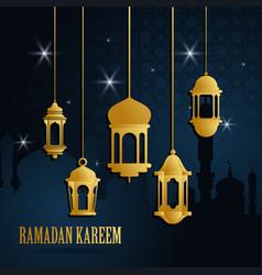 Ramadan greeting card with golden islamic arabic vector