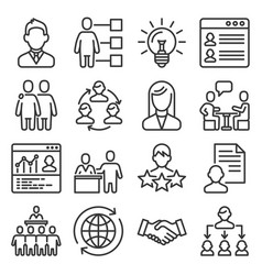 recruitment and human resource icons set line vector image