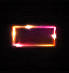 Red neon rectangle halogen or led lamp wall sign vector