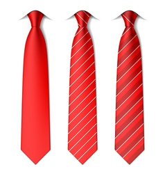 Red plain and striped ties vector