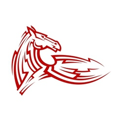 Red tribal mustang horse tattoo vector image