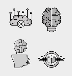 set artificial intelligence technology vector image