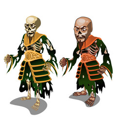 set of zombie samurai isolated on white background vector image