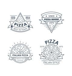 set pizza badge design line art vector image