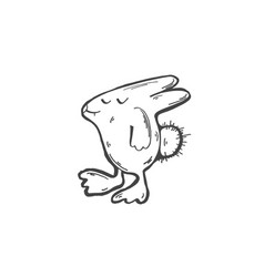 sketch doodle drawing icon of funny stupid hare vector image