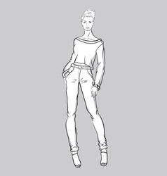Sketch of girl in jeans and short pullover vector
