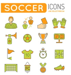 Soccer Thin Lines Color Web Icon Set vector