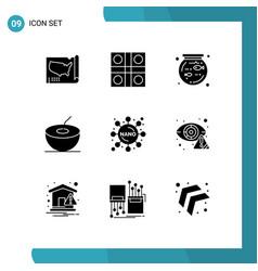 Solid glyph pack 9 universal symbols crime vector