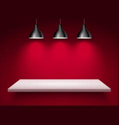 Spotlight shelf on wall background design vector