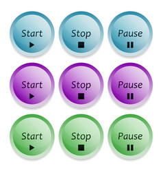 start stop and pause buttons vector image