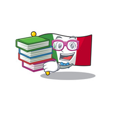 Student with book flag italy is placed cartoon vector