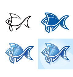 Stylized fish set vector image