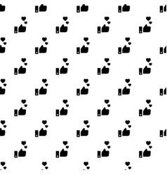 thumb up heart pattern seamless vector image