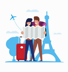 Tourists explore route on map in city cartoon vector