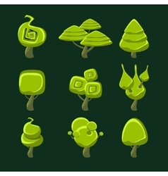 Trees With Fantastic Shape Crown Set vector