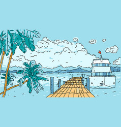 tropical pier vector image