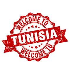 tunisia round ribbon seal vector image
