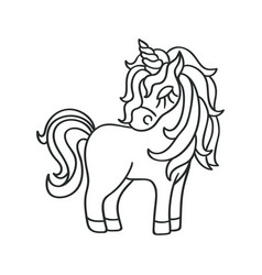 Unicorn silhouette sketch icon on the white vector