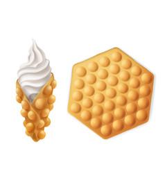 Vanilla ice cream hong kong egg waffle cone vector