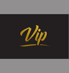 Vip gold word text typography vector
