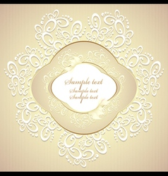 Wedding or sweet frame with petals and lace vector
