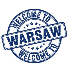 Welcome to warsaw blue round vintage stamp vector