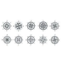 wind rose compass vintage marine compasses vector image