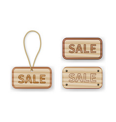 Wooden labels with sale inscription with rope vector