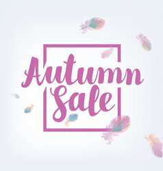 banner autumn sale with feathers vector image