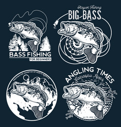Bass fishing emblem on black background vector
