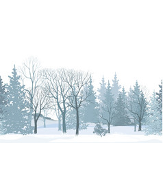 christmas snow tree background winter forest vector image vector image