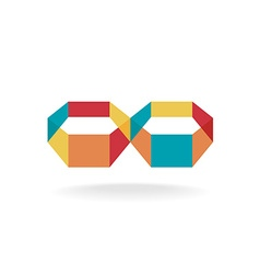 Infinity flat colorful 3d transparent symbol logo vector image vector image