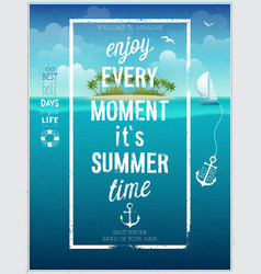 Summer time poster with sea background vector image vector image