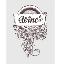 Wine and winemaking vintage barrel vector image