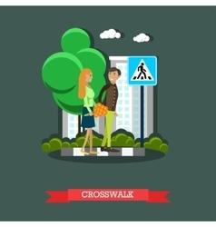Crosswalk concept flat design vector image vector image