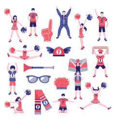 Fans supporters flat icons collection vector