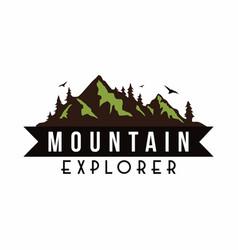 mountain explorer adventure badge template vector image