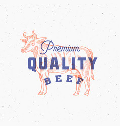 premium quality beef retro print effect card vector image vector image