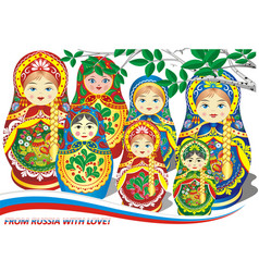 russian nesting dolls vector image